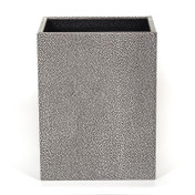 Silver and Black Embossed on Wood Waste Bin