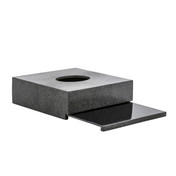 Galuchat Black Square Tissue Box showing sliding Base (for folded Mansize tissues)