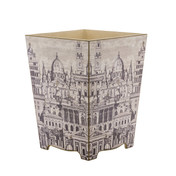 Fornasetti  Waste Paper Bin - Side View (wooden)