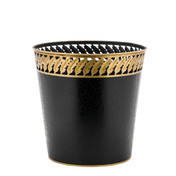 Black Waste Paper Bin with Gold Feather Trim