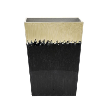 Ombre Black and Ivory Waste Bin with crystals -front
