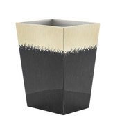 Ombre Black and Ivory Waste Bin with crystals -side