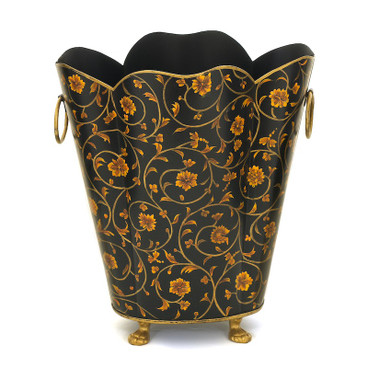 Black Scroll Waste Paper Bin