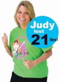 Judy...DOWN 21 POUNDS!...has been a very dedicated Skinny Jane client. She did the 28 Day Challenge, used T.K.O. Tea and has stayed focused and continued to lose weight and improve herself week after week. She loves the Skinny Burn and Skinny Blend and uses both so she stays in a good routine and keeps moving forward. Great job, Judy!