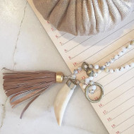 Tassel Necklace with Fossilized Lions Tooth