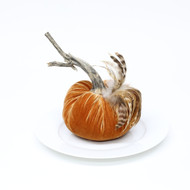 "6"" Velvet Pumpkin with Feathers"