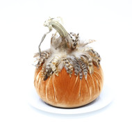 "10"" Velvet Pumpkin with Feathers"
