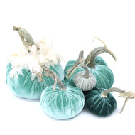Velvet Pumpkin Large Set with Feathers - Turquoise