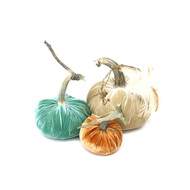 "The Cozy Pumpkin Trio with Feathers includes a 6"" Bone with feather plume, 5"" Lagoon velvet and 4"" Persimmon velvet pumpkin."