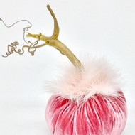 Sweet Rose Velvet Pumpkin with Marabou Feathered Collar