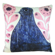 Black Bird in Flowers Pillow