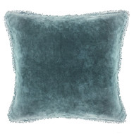 Indigo Velvet Pillow with PomPom
