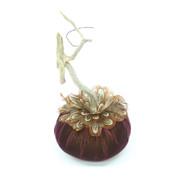 Eggplant Velvet Pumpkin with Pheasant Feathers