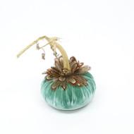 Lagoon Velvet Pumpkin with Pheasant Feathers