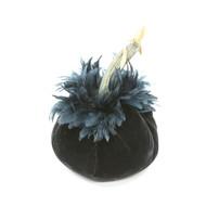 Ebony Velvet Pumpkin with Black Schlappen Feathers