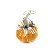 D'or Velvet Pumpkin with Ginger Saddle Feathers