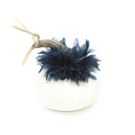 Ivory Velvet Pumpkin with Black Schlappen Feathers