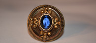 Bavarian Copper Mirror Glass & Blue Agate Ring