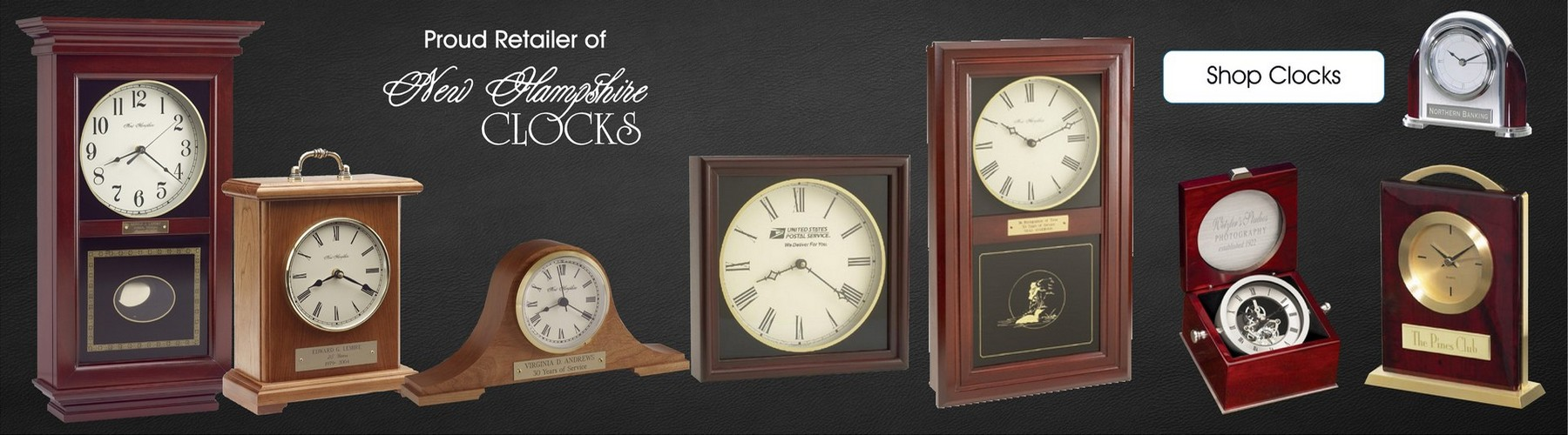 Proud retailer of New Hampshire Clocks - shop clocks