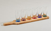 7 Piece Tasting Set with Wood Holder