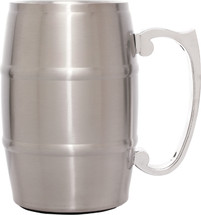 Silver Stainless Steel Barrel Mug with 17 oz