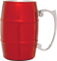 Red Stainless Steel Barrel Mug with Handle 17 oz.