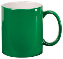 11 oz Green Ceramic Round Coffee Mug