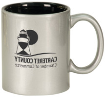 11 oz Silver/Black Ceramic Round Coffee Mug