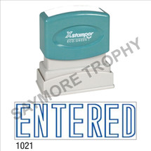 "Pre-Inked Stock Stamp ""ENTERED"" (BLUE) - Impression Size: 1/2"" x 1-5/8"""