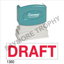 "Pre-Inked Stock Stamp ""DRAFT"" (RED) - Impression Size: 1/2"" x 1-5/8"""