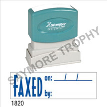 """Pre-Inked Stock Stamp """"FAXED ON BY"""" (BLUE) - Impression Size: 1/2"""" x 1-5/8"""""""
