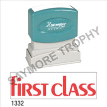 """XStamper Pre-Inked Stock Stamp """"FIRST CLASS MODERN"""" (RED) - Impression Size: 1/2"""" x 1-5/8"""""""