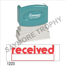 """XStamper Pre-Inked Stock Stamp """"RECEIVED W/BOX"""" (RED) - Impression Size: 1/2"""" x 1-5/8"""""""