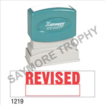 """Pre-Inked Stock Stamp """"REVISED W/ BOX"""" (RED) - Impression Size: 1/2"""" x 1-5/8"""""""
