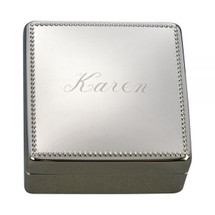 Personalized Engraved Square Jewelry Box with Beaded Edge