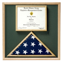 This is a case that holds a ceremonial flag and a certificate