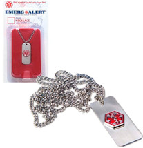 Medical Alert Identification Necklace Custom Engraved with Packaging