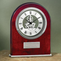 Rosewood Clock with Silver Accents and Exposed Internal Gears