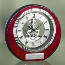 Rosewood Clock with Silver Accents and Open Dial
