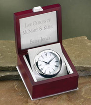 Rosewood Clock with Silver Accents and Rotating Clock in Box