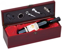 Rosewood Single Wine Holder with Red Satin