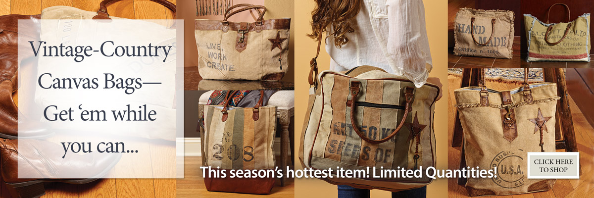 Vintage Country Canvas Bags--this season's hottest item!