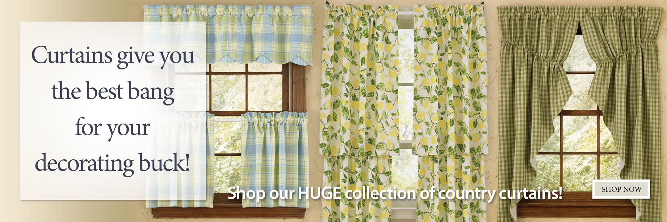 Shop our huge selection of country curtains!