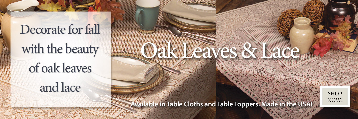 Oak Leaves and Lace Table Linens for Fall