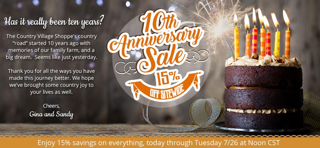 10th Anniversary Sale 15 percent off
