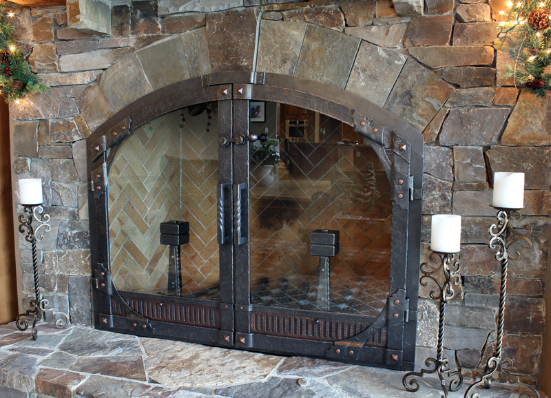 Custom Wrought Iron Fireplace Door Gallery | Ponderosa Forge ...