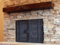 retrofit fireplace doors with arched craftsman grid
