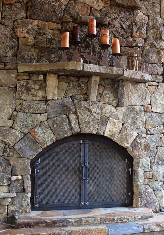 ... Hand Forged Retrofit Fireplace Doors With Arched Craftsman Grid