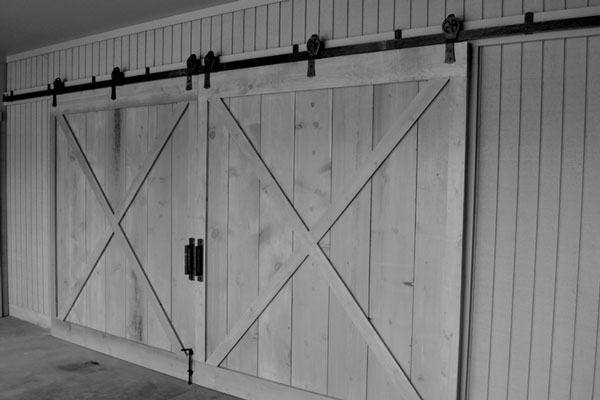 Double Wrought Iron Barn Door Tracks ...