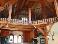 Hand forged wrought iron loft railing